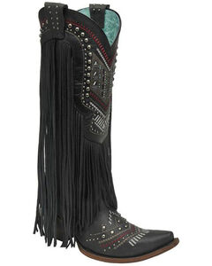Corral Crystal and Fringe Cowgirl Boots - Snip Toe, , hi-res