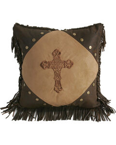 HiEnd Accents Embroidered Cross & Fringe Pillow, , hi-res