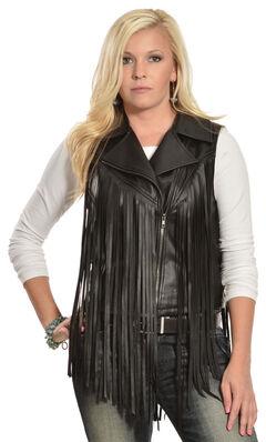 Cowgirl Justice Women's Black Fringe Moto Vest, , hi-res