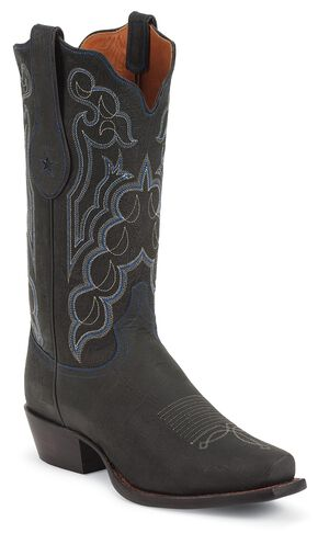 Tony Lama Signature Series Kangaroo Cowboy Boots - Square Toe, Black, hi-res