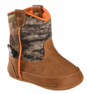 Double Barrel Infant Boys' Gunner Mossy Oak Cowboy Booties, Brown, hi-res