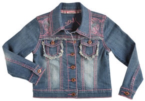 Cowgirl Hardware Girls' Pink Stitched Horse Denim Jacket, Denim, hi-res