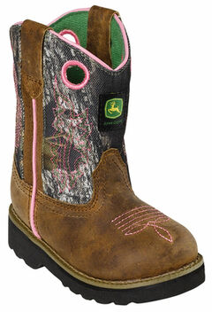 John Deere Toddler Girls' Johnny Popper Camo Western Boots - Square Toe, , hi-res