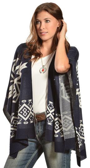 Petrol Women's Navajo Poncho Cardigan, Blue, hi-res