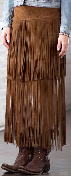 Ryan Michael Women's Fringe Leather Skirt, , hi-res