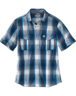 Carhartt Men's Blue Bozeman Short Sleeve Shirt , Blue, hi-res