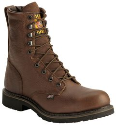 """Justin Jow 8"""" Lace-Up Work Boots - Steel Toe, Brown, hi-res"""