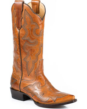 Stetson Women's Burnished Sorrel Jess Embroidered Western Boots - Snip Toe, Orange, hi-res