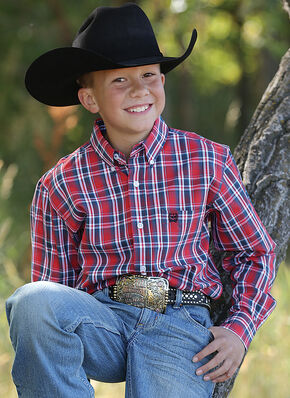 Cinch Boys' Red Plaid Western Shirt , Red, hi-res