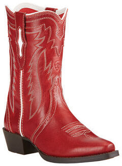 Ariat Girls' Red Calamity Rodeo Cowgirl Boots - Snip Toe, , hi-res