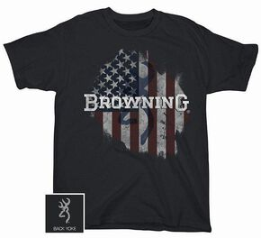 Browning Tattered Flag T-Shirt, Black, hi-res