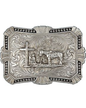 Montana Silversmiths Engraved Cowboy Prayer Buckle, Silver, hi-res