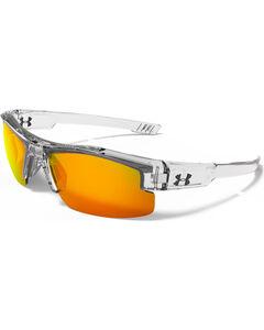 Under Armour Boys' Crystal Clear Yellow Multiflection Nitro L Sunglasses, , hi-res