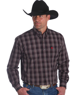 Wrangler Men's George Strait Red Plaid Long Sleeve Shirt - Big & Tall , Red, hi-res