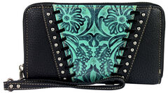 Montana West Trinity Ranch Turquoise Tooled Design Wallet, , hi-res