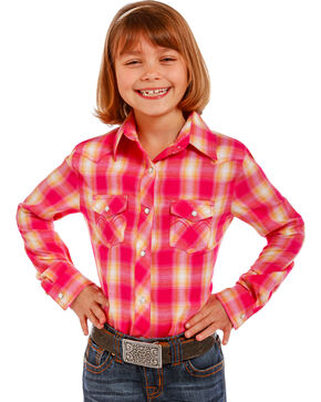 Panhandle Girls' Pink Plaid Snap-Down Shirt , Pink, hi-res