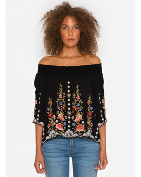 Johnny Was Women's Black Harleth Off The Shoulder Top , Black, hi-res