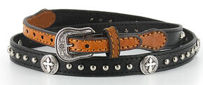 Cody James® Leather Cross and Stud Concho Hat Band, Black, hi-res