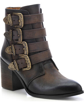 Circle G Buckled Ankle Boots - Round Toe, Chocolate, hi-res