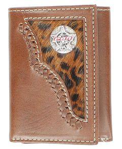 PBR Concho Leopard Print Hair-on-Hide Inlay Tri-fold Wallet, , hi-res