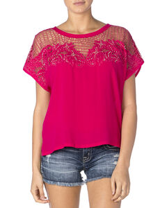 Miss Me Women's Hot Pink Mesh Cap Sleeve Top, , hi-res