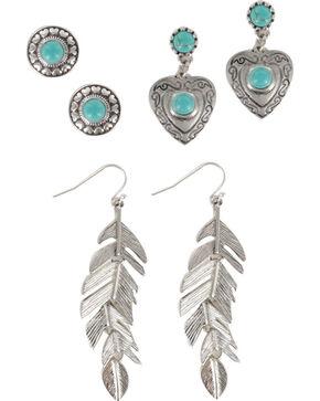 Shyanne Women's Feather & Heart Earring Set, Silver, hi-res