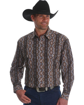 Wrangler Men's Checotah Stripe Long Sleeve Western Shirt , Brown, hi-res