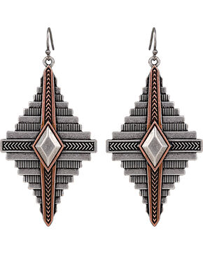 Wrangler Rock 47 Points of Aztec Two Tone Pyramid Earrings, Antique Silver, hi-res
