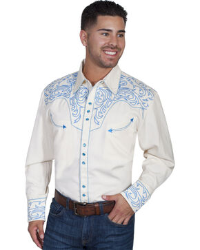 Scully Embroidered Scroll Western Shirt, Blue, hi-res
