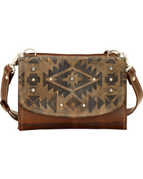 American West Mystic Shadow Small Crossbody Wallet Bag, Dark Brown, hi-res