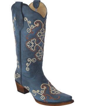 Circle G Women's Embroidered Cowgirl Boots - Snip Toe, Bronze, hi-res