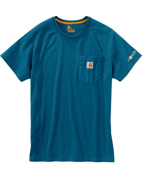Carhartt Men's Blue Force Cotton Delmont Short Sleeve T-Shirt, Blue, hi-res