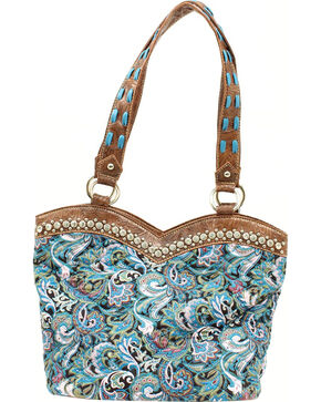 Blazin Roxx Quilted Paisley Boot Top Handbag, Turquoise, hi-res