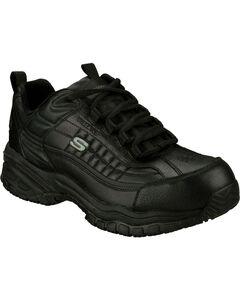 Skechers Men's Black Soft Stride Slip Resistant Work Shoes - Steel Toe , , hi-res