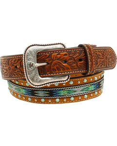 Ariat Men's Ribbon Strip Turquoise Stone Belt, , hi-res