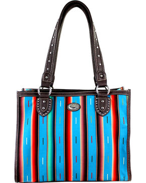 Montana West Women's Stripe Serape Concealed Carry Tote Bag , Turquoise, hi-res
