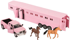 Girls Pink Dodge Truck & Horse Trailer Toy Set, Pink, hi-res