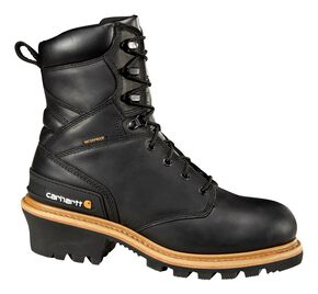 "Carhartt 8"" Black Leather Waterproof Logger Boots, Black, hi-res"