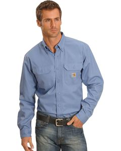 Carhartt Flame Resistant Two-Pocket Work Shirt, Blue, hi-res