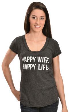 """ATX Mafia Gray """"Happy Wife, Happy Life"""" Tee, , hi-res"""