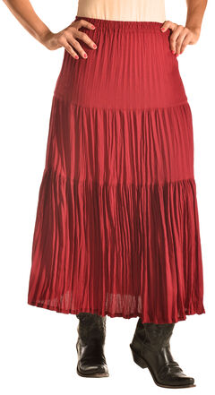 "Pink Cattlelac Women's Red Crinkle Skirt - 36"" , , hi-res"