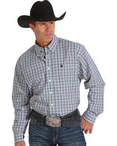 Cinch Men's Purple Plaid Double Pocket Western Shirt , , hi-res