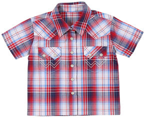 Wrangler Toddler Boys' American Spirit Short Sleeve Plaid Shirt, Am Spirit, hi-res