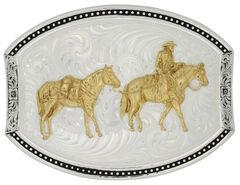 Montana Silversmiths Star Light Park Horse & Rider Belt Buckle, , hi-res