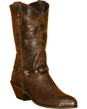 Abilene Distressed Brown Studded Harness Cowgirl Boots - Round Toe, Brown, hi-res