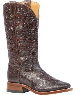 Boulet Floral Embossed Cowgirl Boots - Square Toe, Brown, hi-res