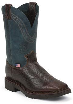 Justin Original Men's Crazyhorse J-Max Caliber Work Boots - Square Toe, , hi-res