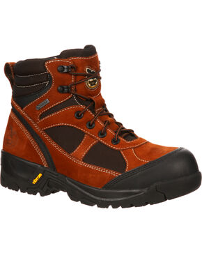 Georgia Stone Mountain Gore-Tex Waterproof Hiker Boots - Safety Toe, Dark Brown, hi-res