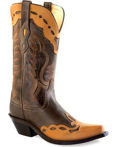 Old West Women's Brown Overlay Western Boots - Snip Toe , , hi-res