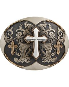 Stetson Hand-Engraved Three Cross Buckle, , hi-res